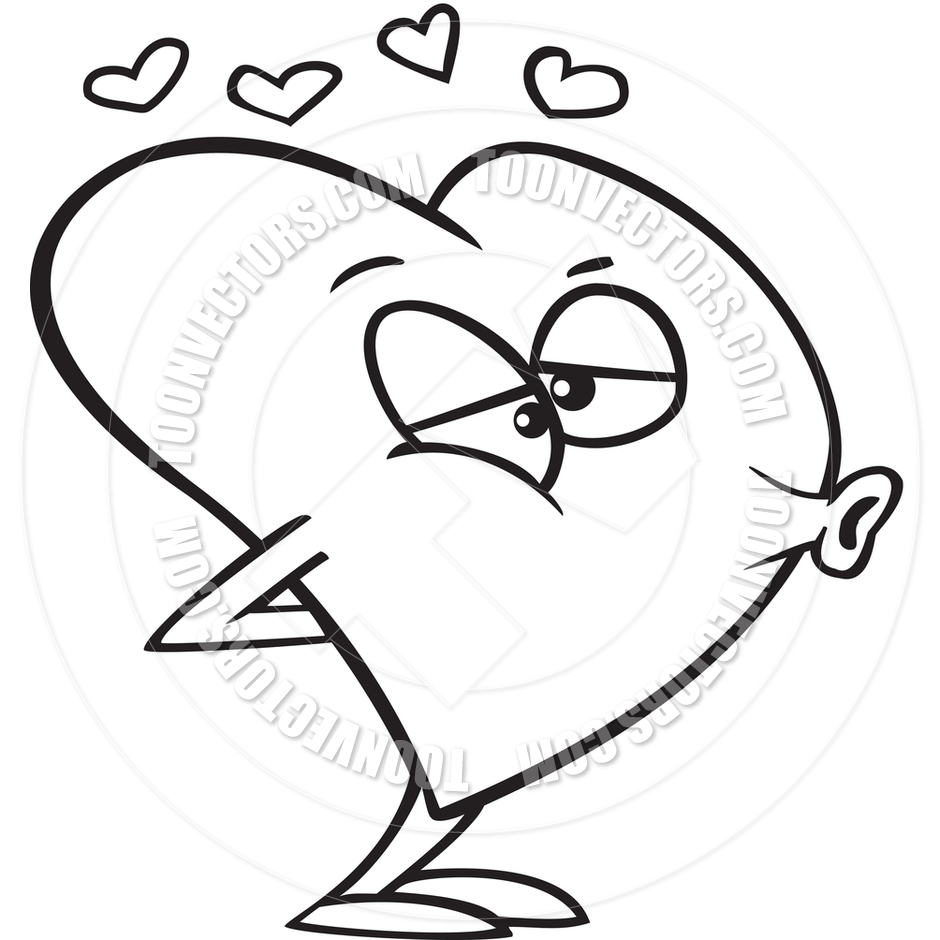940x940 Cartoon Love Heart Puckering Its Lips For A Kiss (Black And White