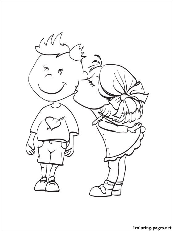 560x750 Love Girl Kisses A Boy On The Cheek Coloring Book Coloring Pages