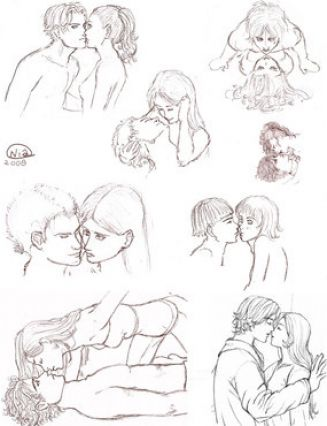 327x426 People Kissing In Rain How To Draw People Kissing In