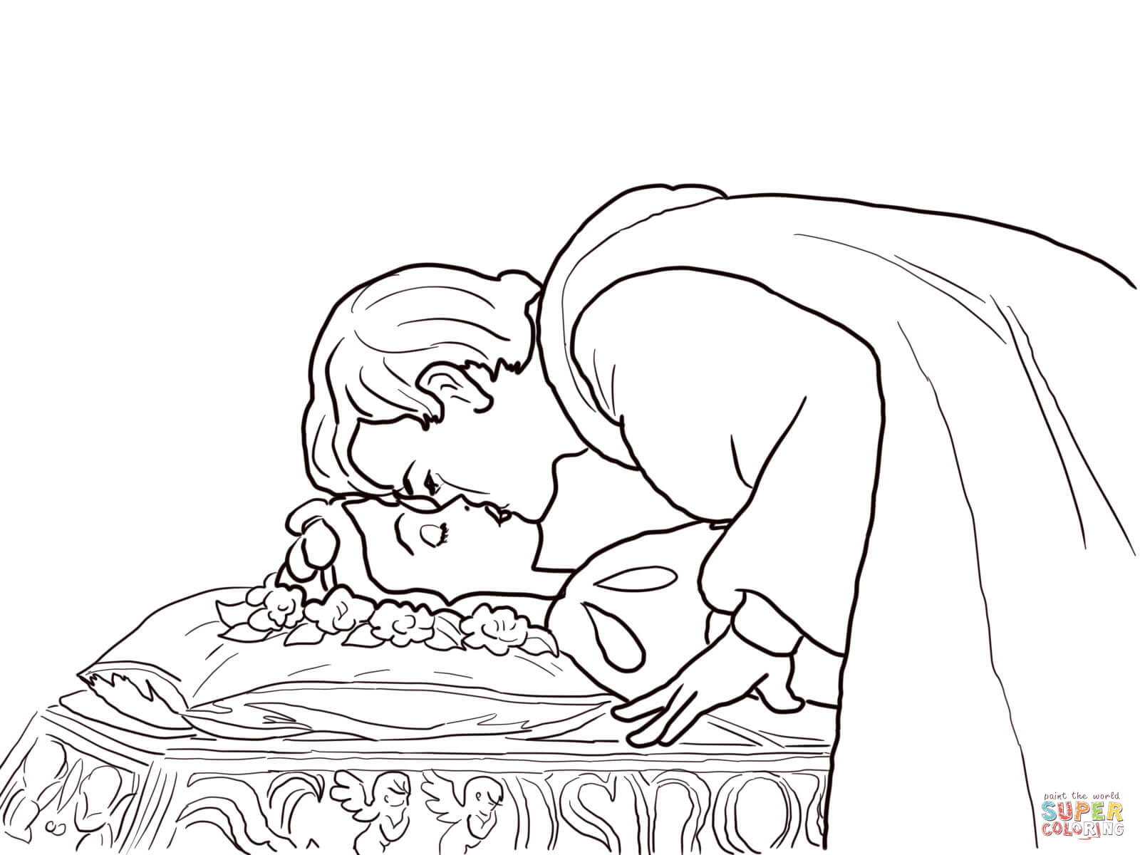1600x1200 Prince Kisses Snow White Coloring Page Free Printable Coloring Pages