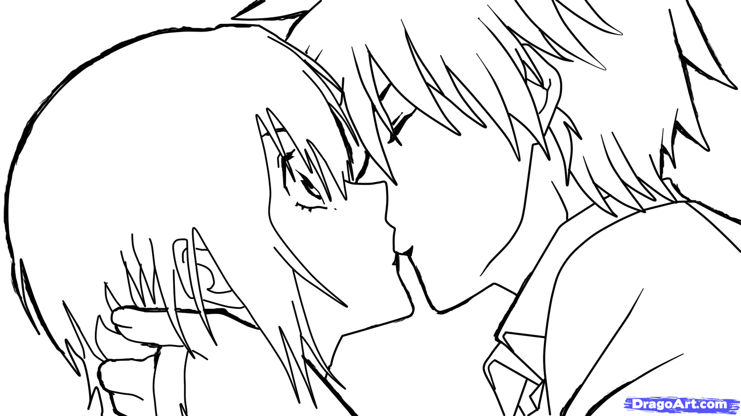 1500x843 Sketch Anime Boy And Girl Kissing Drawn Kisses Anime Kid