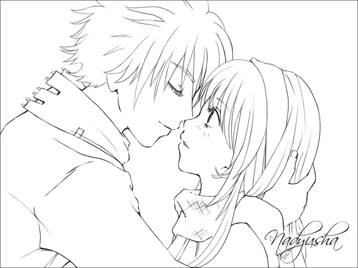 715x536 Anime Couples Kissing Coloring Page