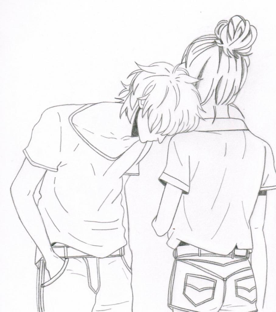 907x1024 Anime Couple Easy To Draw