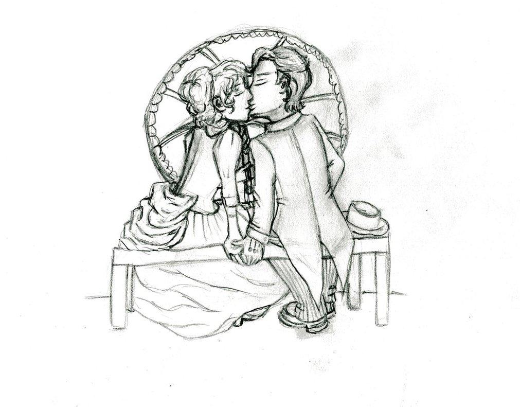 1011x791 Kissing Couple A Bench By Gaiadarkstar