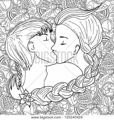 445x470 Vector Kissing Couple Doodle Style Vector Amp Photo Bigstock