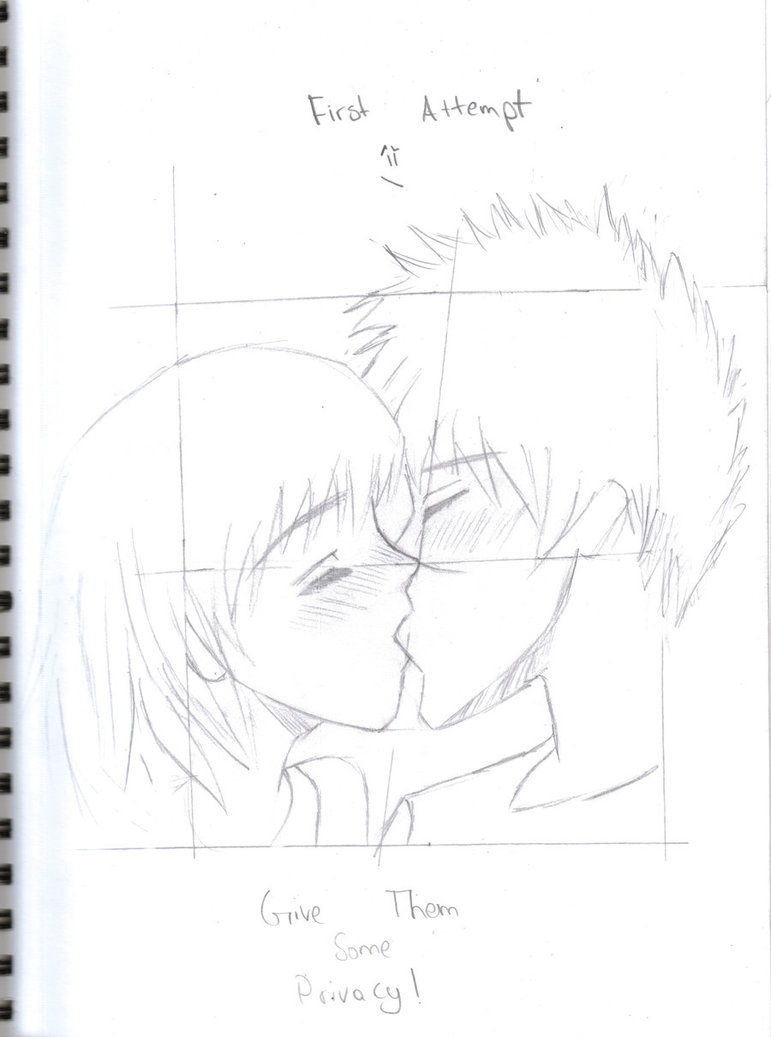 771x1037 Anime Couple Kissing First Attempt By Jusalittleproduction