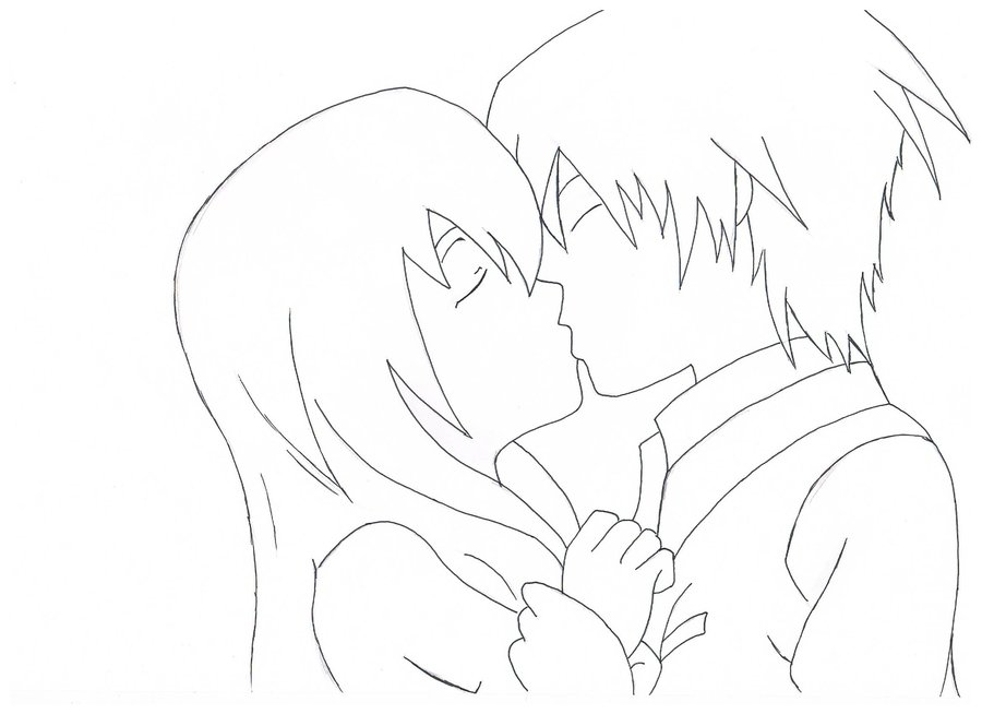 900x654 Kissing Couple(Uncolored) By Innocencex3