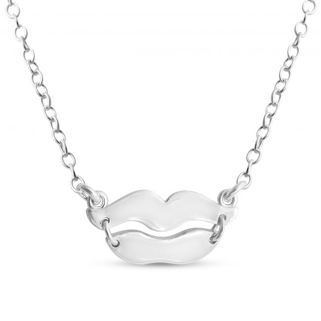 650x650 Gold Plated Necklace Kissing Lips