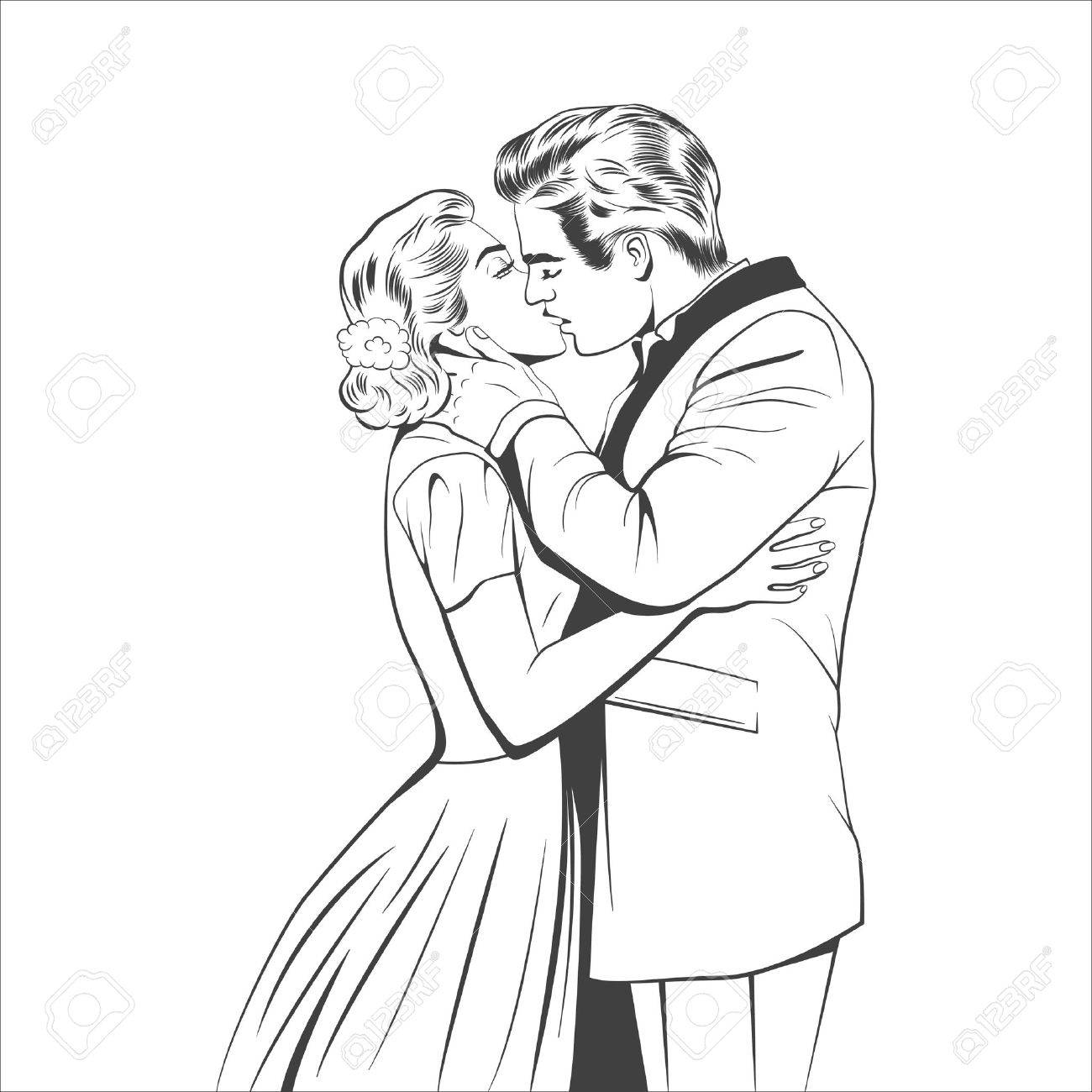 1300x1300 Kissing Couple In The Retro Style. Vector Eps8 Illustration