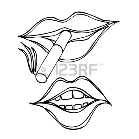 450x450 Cigarette In Mouth, Isolated On White Royalty Free Cliparts