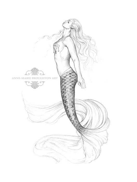570x755 8x10 Inch Print Sea Kiss Princess Mermaid Art Graphite Pencil
