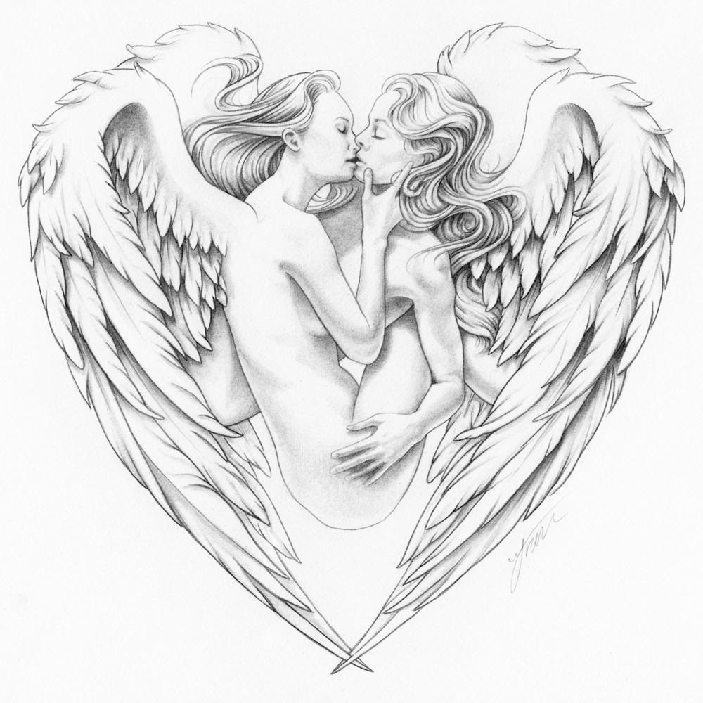 1000x1000 Angels Kissing In Heart Romantic Print Of Erotic Lesbian