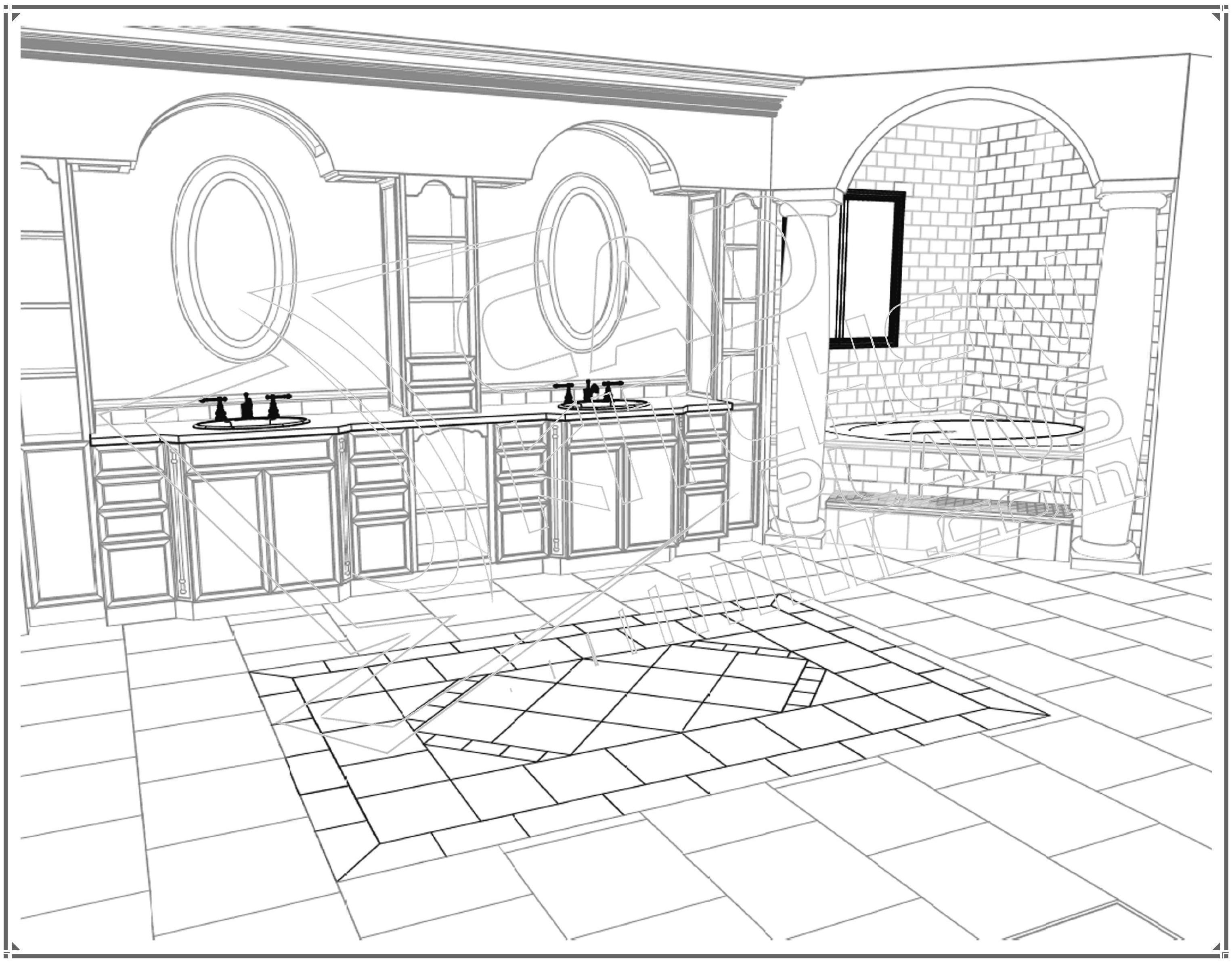 3052x2388 Sliding Door Bathroom Cabinet Furniture Modern
