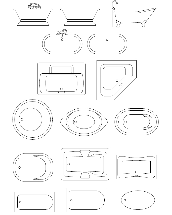 684x853 Bathroom Templates Foot Tubs, Spa Bath Tubs Cad Symbols,