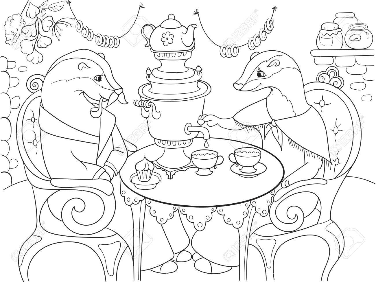 1300x975 Family Of Badgers In Their House In The Kitchen Coloring Book