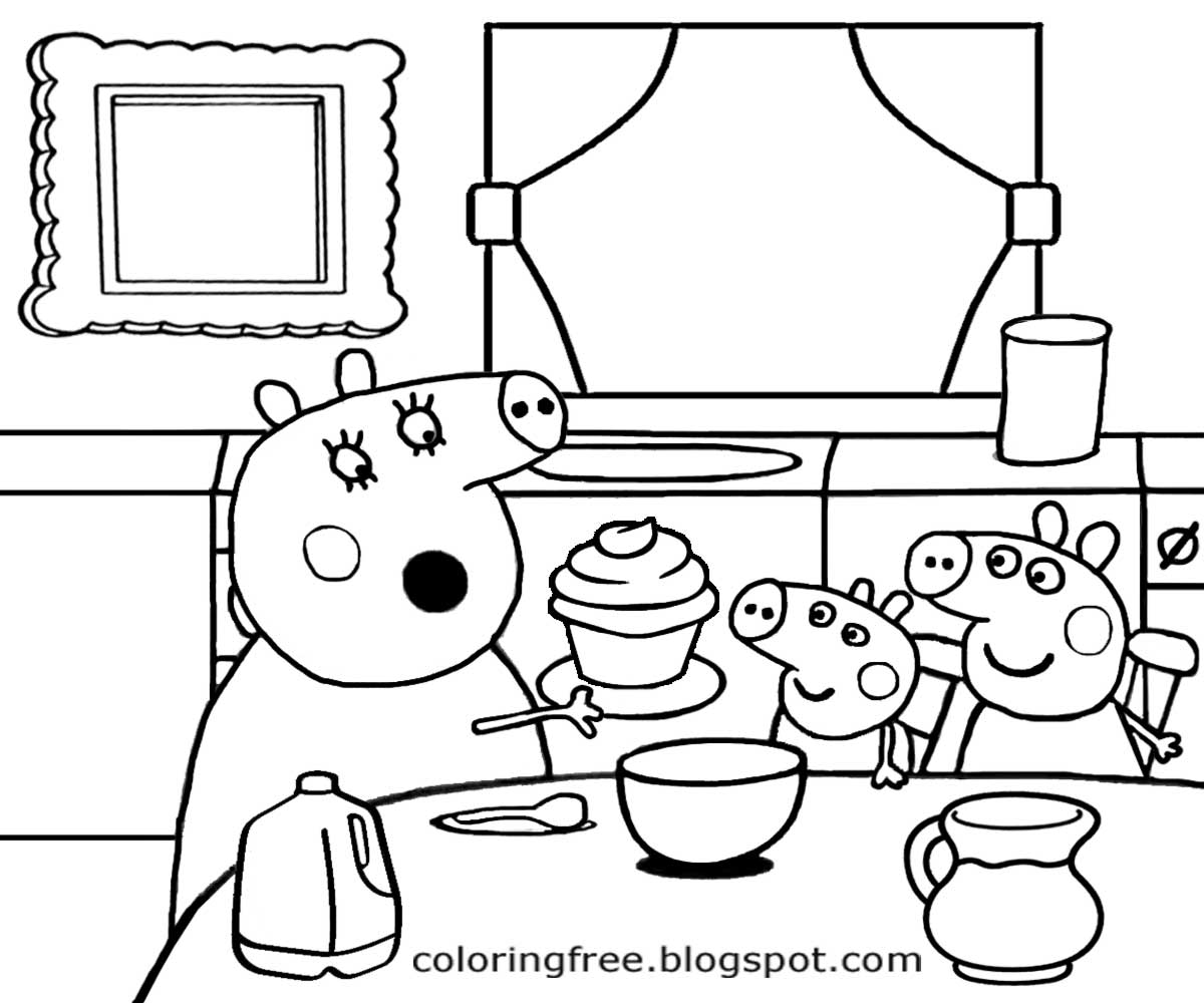 Kitchen cartoon drawing at free for for Cooking coloring page