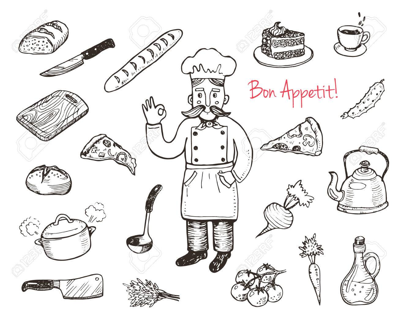 1300x1059 Hand Drawn Doodle Cooking Set. Kitchen Utensils And Food. Royalty