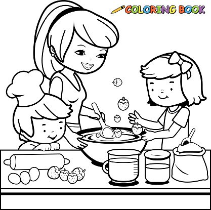 417x415 Mother And Children Cooking In The Kitchen Coloring Book Page