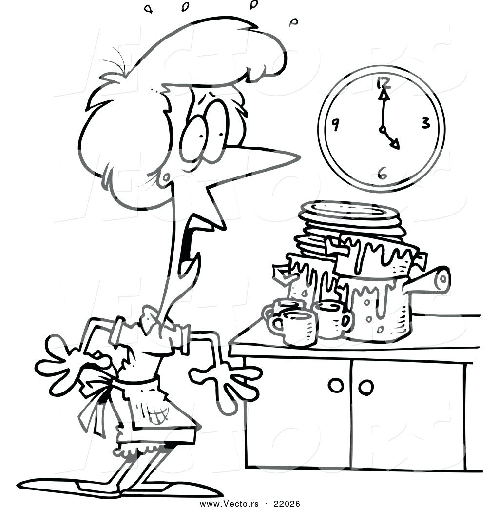 1024x1044 Coloring Kitchen Coloring Page Vector Of A Cartoon Woman