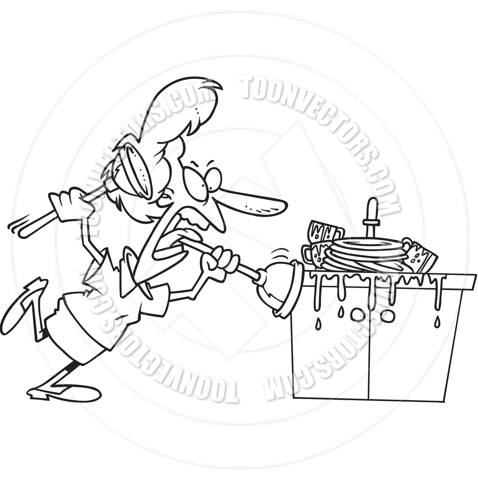 940x940 Cartoon Clogged Kitchen Sink (Black And White Line Art) By Ron