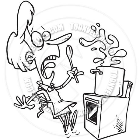 460x460 Cartoon Kitchen Cook (Black And White Line Art) By Ron Leishman