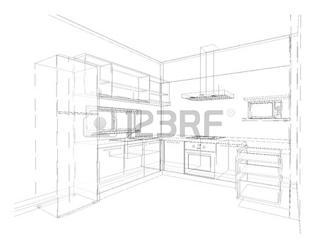 450x350 Interior Design Of Country Style Kitchen, 3d Outline Sketch