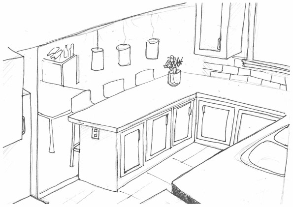 595x421 Kitchen Dazzling Kitchen Room Drawing Graceful Perspective