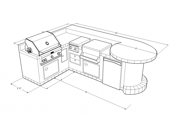 600x413 Matchless Outdoor Bbq Kitchens Islands Plans With L Shape Design