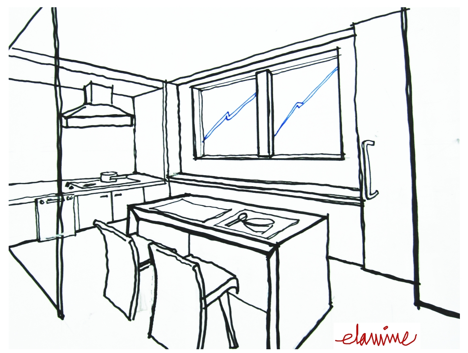 Kitchen Drawing at GetDrawings.com | Free for personal use Kitchen ...