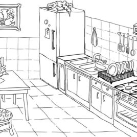 268x268 Gorgeous Kitchen Drawing For Kids Decorating Inspiration Of 79