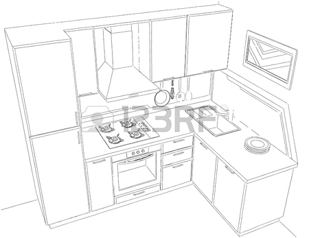 450x347 Black And White Drawing Of Kitchen Corner With Sink, Wall Pot
