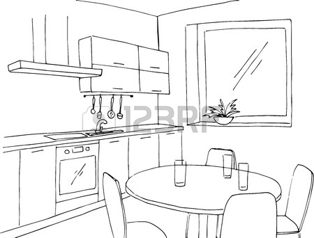 450x342 Sketch Kitchen With A Window. Vector Illustration In A Sketch