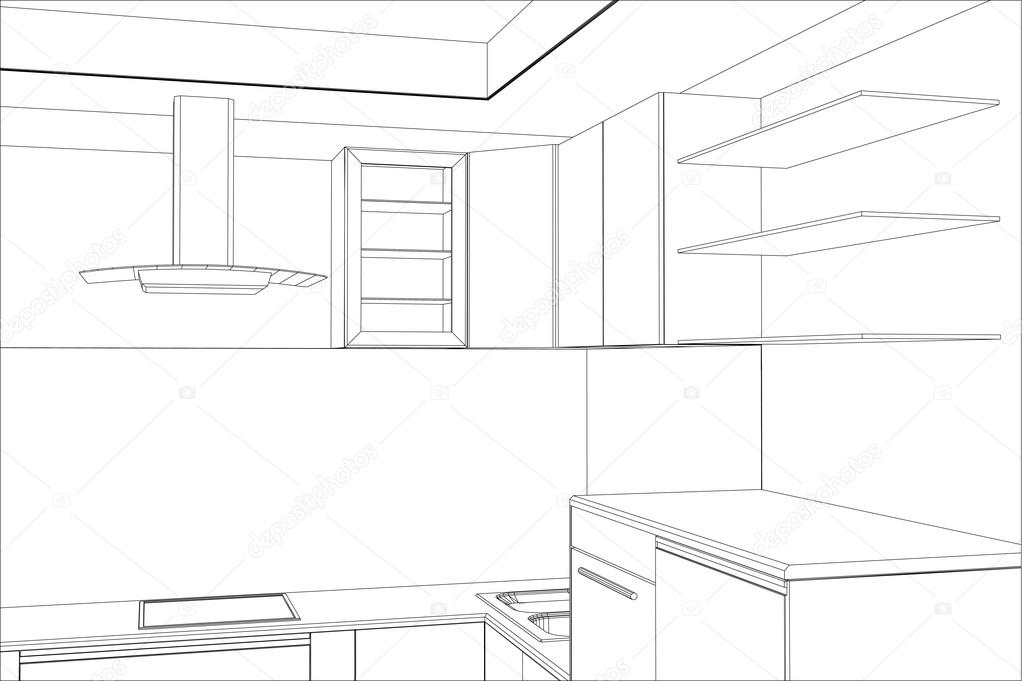 1023x681 Sketch Plan Kitchen In The Wire Stock Vector Mirexonlife