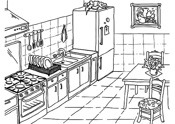 Superieur 600x425 Drawing Kitchen Coloring Pages