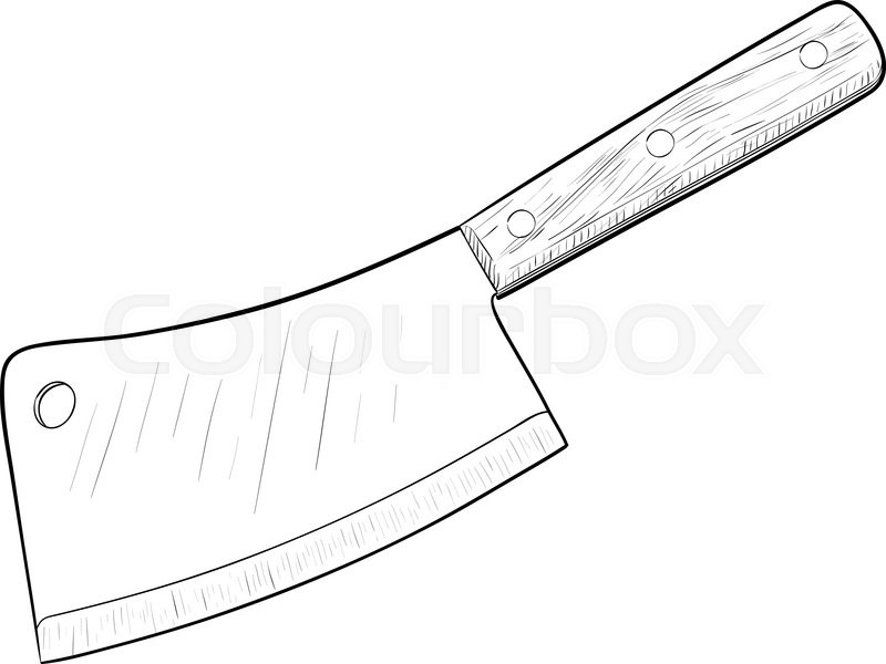 800x600 Kitchen Knife, Hand Drawn, Sketch Style, Isolated On White