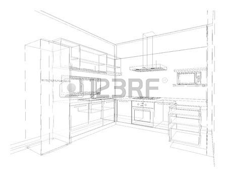 450x350 Interior Design Of Modern Style Kitchen, 3d Wire Frame Sketch