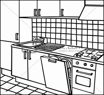 340x310 Kitchen Amusing Kitchen Room Drawing Perspective Interior