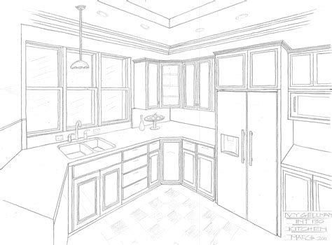474x350 Line Drawing 1 Point Perspective Living Room Kitchen