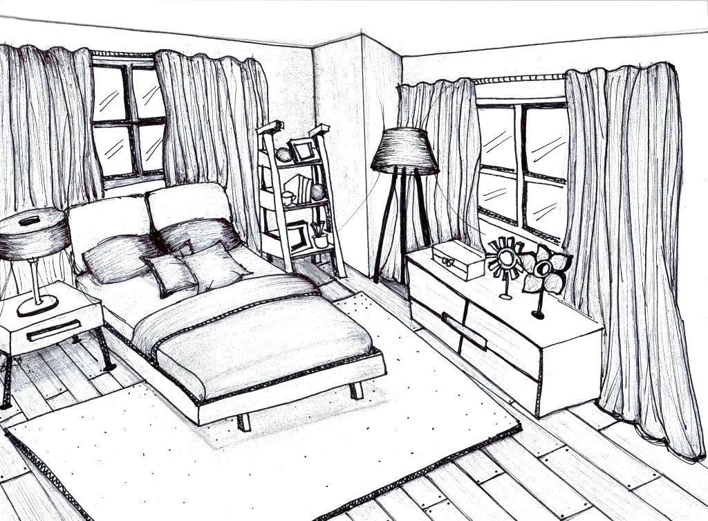 1024x753 3d Bedroom Drawing Drawn Bedroom Sketch Plan 9 3d Room Design