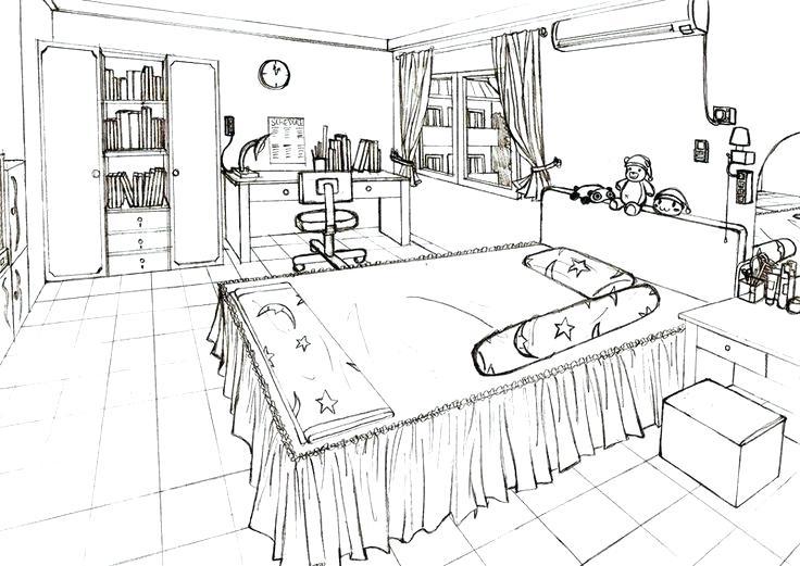 736x521 One Point Perspective Of A Kitchen Kitchen Interior Design