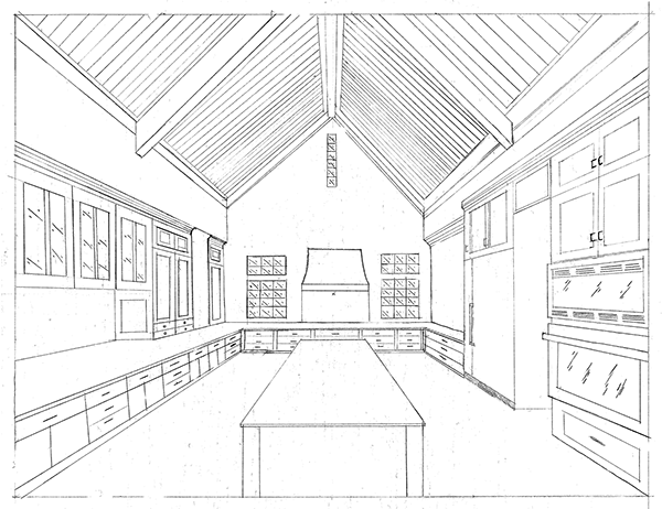 Perspective room interior drawing 600x462 one point perspectives on behance
