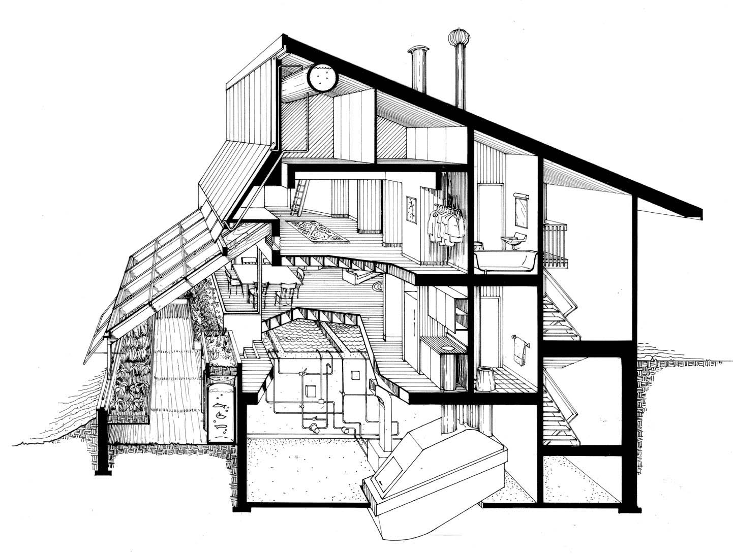 1442x1091 The Ark Section Perspective Of Kitchen Greenhouse And Dwelling