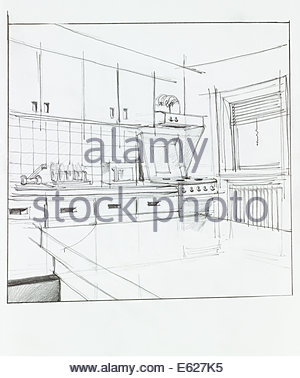 300x378 Hand Drawing Sketch Of Modern Kitchen Interior With Drawing Tools