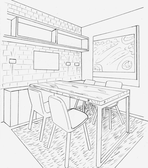 564x640 Kitchen Perspective Drawing One Point Perspective Kitchen
