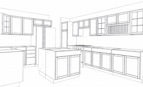 500x303 Mechanical Drawing Or Floorplan Of A Residential Kitchen