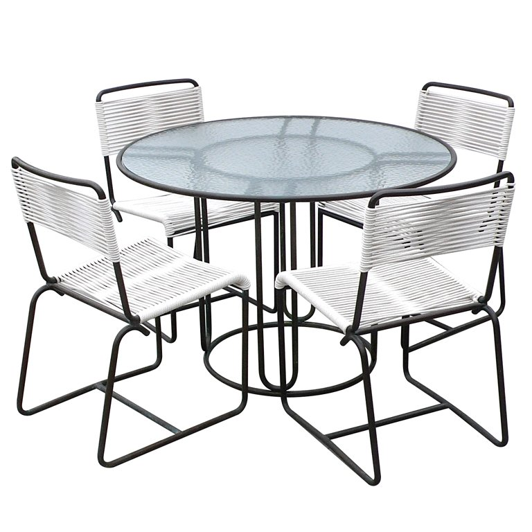 768x768 Walter Lamb Bronze Dining Table And 4 Matching Chairs