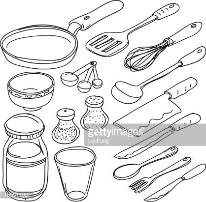 418x411 Kitchen Utensils Drawing Drawn Kitchen Cooking Utensil Pencil