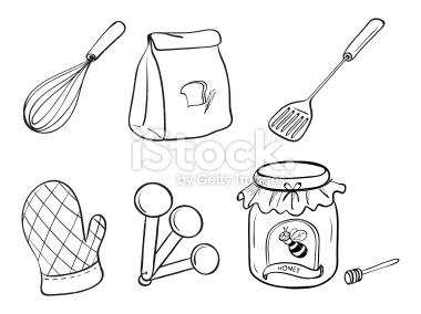380x284 Doodle Set Of Kitchen Utensils, Baking Powdernd Honey Jam On