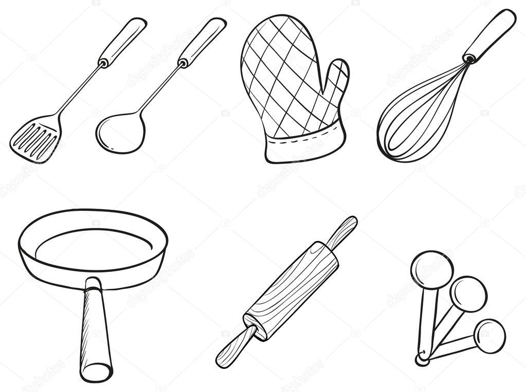 X Kitchen Utensils Drawing