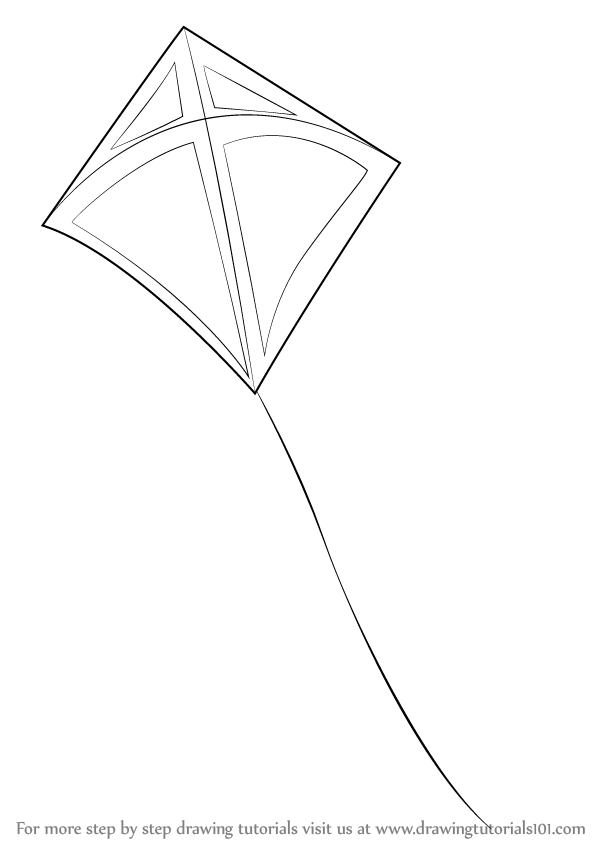 599x844 Learn How To Draw A Kite (Everyday Objects) Step By Step Drawing